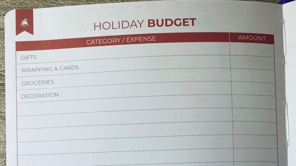 Clever Fox Budget Planner Holiday Section